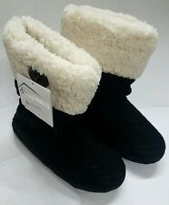 WOMEN'S DEARFOAMS CHALET COLLECTION BLACK BOOT SLIPPERS SIZE LARGE 9/10