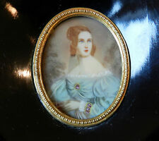 ANT BEAUTIFUL HAND PAINTED MINIATURE LADY PICTURE PORTRAIT WOOD FRAME STAND/HANG