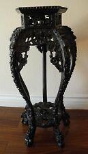 Antique Chinese Pentagon Carved Rosewood / Teak Wood Marble Plant Stand Table