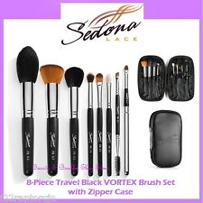 NEW Sedona Lace 8-Piece VORTEX BLACK TRAVEL Brush Set-Zipper Case FREE SHIPPING