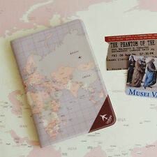 Violet color World Map PASSPORT CASE Credit ID Card Cover Holder Travel wallet