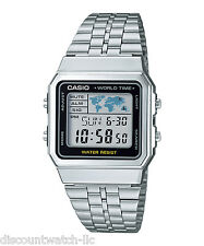 Casio A500WA-1A World Time Digital Stainless Steel Watch WORLD MAP Stopwatch NEW