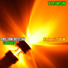 1X T10 30W CREE Q5 LED W5W 194 360° AMBER INTERIOR DOME/MAP PROJECTOR LIGHT BULB