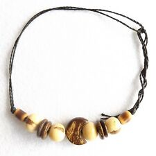 ANKLET REAL COCONUT SHELL WOOD MOON AND DISCS HANDMADE UNIVERSAL SIZE FITS ALL.