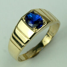 14K solid yellow gold simple 3.9 gram high polished Sapphire men's ring size 10