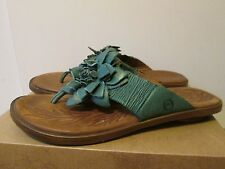 Born Astrid Turquoise Green Handcrafted Leather Flower Thong Sandals Sz 8 EU 39
