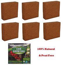 6x Hydro Coco Coir Mixture Potting Soil Grow Bag 100% Natural Home Garden 10 Ltr