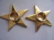 Vintage Rare Set Of 2 Solid Brass Star Candle Holders Made In India