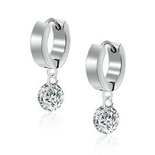 Women's Facets Cubic Zirconia Bead Ball Stainless Steel Dangling Drop Earring