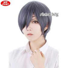 Black Bulter Ciel Kuroshitsuji Phantomhive Blue Mixed Gray Straight Cosplay Wig
