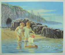 """Seascape-Children-""""Pirates Cove""""-James Lumbers-Limited Edition Lithograph-Signed"""