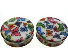 """PAIR 11/16"""" INCH 18MM ACRYLIC BUTTERFLY DOUBLE FLARED PLUGS"""