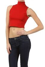 Sexy Solid Basic Sleeveless Turtle Neck Crop Belly Cut-Off Half Cami Top Shirt