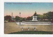 Alexandria Garden & Monument to Nubar Pasha Africa Vintage Postcard 184a
