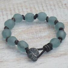 Boho Chic African Sea Glass Beads w/ Ann Choi Skull Button Leather Bracelet