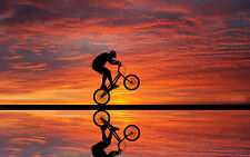 Framed Print - BMX Rider Doing Stunts at Sunset (Picture Poster Push Bike Art)