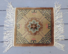 """fine old Chinese pure silk hand knotted oriental sample rug mat 12 1/2"""""""