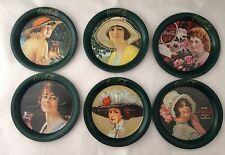 1983 Set Of 6 Beautiful Gibson Girls Coca cola Tin Coasters By Ohio Art Co.