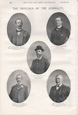 1897 ANTIQUE MILITARY PRINT- THE OFFICIALS OF THE ADMIRALTY, 2 PAGES