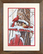 Winter Cardinals Snow Sled Counted Cross Stitch Dimensions Cross Stitch Kit NEW