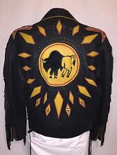 VOLCANO LEATHER JACKET NATIVE AMERICAN BUFFALO DESIGN MEN'S SIZE LARGE EUC