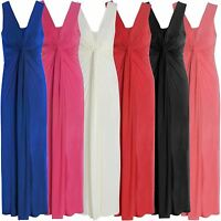 New Ladies Plus Size Twist Knot Panel Long Evening Maxi Dress