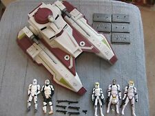 Star Wars Hasbro REPUBLIC FIGHTER TANK Complete 5 Trooper Squad Bases Xtra Wps