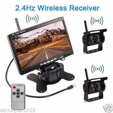 "7""car rearview Monitor+two Wireless Reversing IR Backup Camera for RV Truck VAN"