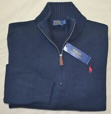 New 4XLT 4XL TALL 4XT POLO RALPH LAUREN Mens half zip Sweater Navy Blue jumper