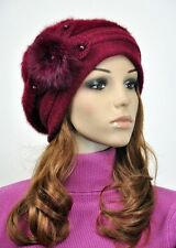 JM39 Rabbit Fur & Wool Lady Winter Hat Beanie Cap Cute Pearls Flower Wine-red NR