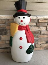Vintage TPI Blow Mold Snowman W/ Broom & Button Nose! Lighted Outdoor Christmas