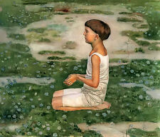 Oil painting ferdinand hodler - adiration ll young boy kneeling on the ground