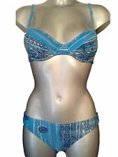 New Blue Bikini Set UK 12 Aus 14 Heavily Padded Cups Booster Cleavage Push Up