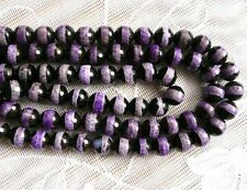 genuine Tibetan Dzi Agate round faceted striped 8mm gemstone beads purple black