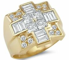 Solid 14k Yellow Gold Mens Huge Simulated Diamond Large Cross Ring