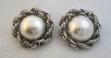 "HUGE FUNKY 1 3/4"" DOMED & TWISTED CHAIN CLIP EARRING LA CONTESSA MARY DEMARCO"
