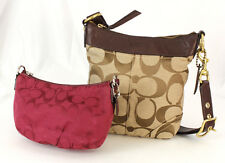 Lot Authentic Coach Monogram Cross-body Shoulder bag w/ Maroon SM  Canvas Purse
