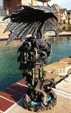 "LARGE 23.5"" TALL ANCIENT BLACK DRAGON CASTLE KEEP STATUE RESIN VIVID PAINTING"
