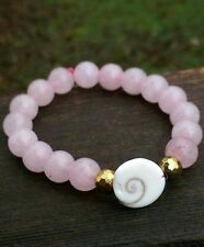 "SHIVA EYE SHELL ""Cat's Eye"" ROSE Quartz Stretchy Gemstone Beaded BraceletReiki"