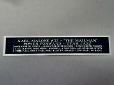 Karl Malone Utah Jazz Nameplate For A Basketball Display Case Or Photo 1.5 X 6
