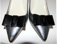 "KATE SPADE ""Janice"" Snake  Metalic Silver Pointed Toe Bow Pump Shoe 7- 6.5"