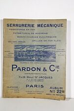 Catalogue Publicitaire illustré PARDON &Cie Paris Serrurerie  Magasin Restaurant