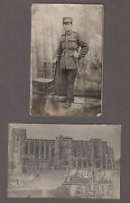 WWI German or Austo-Hungarian Identified Soldier RPPC Postcard + Bombing Photo