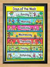 Days of the Week Kids Children Educational Ready to use packaging A4 Photo Print