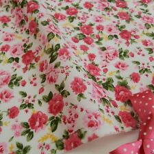 per metre Cottage rose white & pink polycotton fabric width 44""