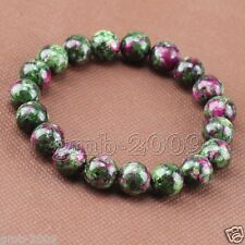 10mm Natural Green Ruby In Zoisite Round Gemstone Stretchy Bracelet