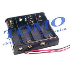 Porta batterie 4 stilo con conduttori BH-341-1A