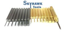 Solid Brass and Steel Punch Set Solid with Automatic Pin Center with Vinyl Bag