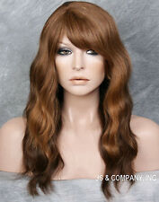 Long Wispy Wavy Auburn Brown Blonde Human Hair Blend HEAT SAFE Wig WBMAR 27-4-30