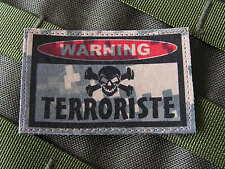 "SNAKE PATCH ..:: WARNING TERRORISTE ::.. AIRSOFT PAINTBALL US "" ACU DIGITAL """
